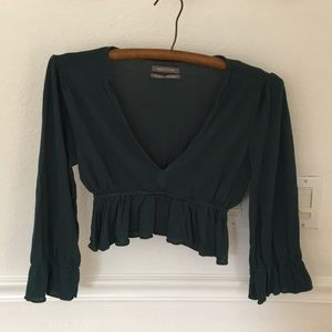 Urban Outfitters crop blouse, teal green, S/P